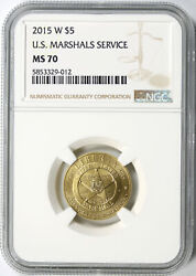 2015-w U.s. Marshals Service 5 Gold Commemorative Ngc Ms70