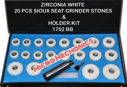 Valve Seat Grinder Stones Zircon White 20 Pcs And Holder Kit For Sioux 80 Grit