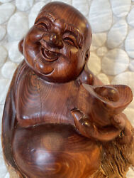 Vintage 10 Chinese Carved Solid Hard Wood Happy Laughing Buddha Statue