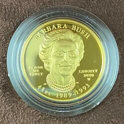 2020-w Us 10 Barbara Bush First Spouse Half Ounce .9999 Pure Gold Proof Coin