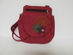 HAIKU Cross Body Shoulder Small Bag Tote Zip Top w Floral Accents Raspberry $12.25
