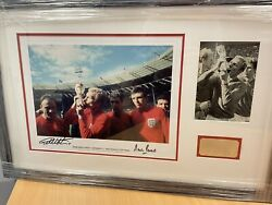 Bobby Moore Geoff Hurst Martin Peters Signed Framed 1966 World Cup V Rare Coa