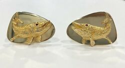 And Co. 14k Gold Ruby Fish Vintage Cufflinks