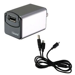 iSound Wall and Car Combo Charger Pro Single USB Adapter Silver Black