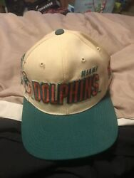 Miami Dolphins Sports Specialties Shadow Snapback Hat White Vintage 90s