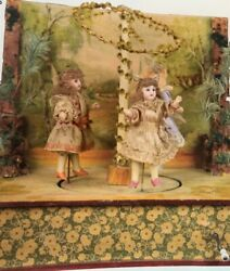 Dancing Bisque Dolls At May Pole - Music Box Antique - Early German 1900