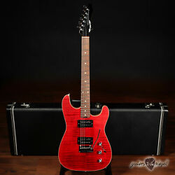 Aero3 Guitars Model A-15 Hh Electric Guitar W/ Flame Maple Top Andndash Red Translucent