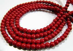 10 Strings- Red Coral Smooth Round Shape Beads Size 3-4mm Length 13 Inch Long