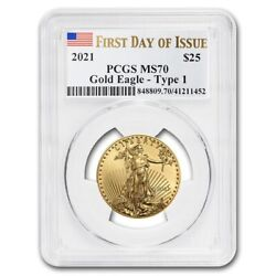 2021 1/2 Oz American Gold Eagle Ms-70 Pcgs First Day Of Issue - Sku221520