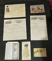 Vintage Antique Corset Advertising Trade Cards And Reciepts From 1901-2
