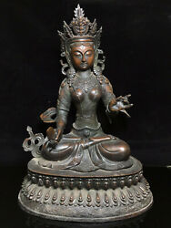 18.4and039and039 China Antique Brass Statue Tibet Old Bronze Kwan-yin Guanyin Statue