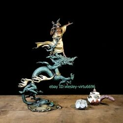 Home Decoration Copper Hand-painted Riding Dragon Arhat Buddha Statue Sculpture