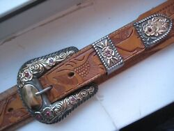 Vintage Nelson Sterling 10k - 1 Inch Buckle And Belt Set With Rubies - Spectacular