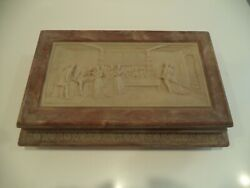 Large Victorian Handcrafted Genuine Pink White Incolay Stone Box 15.50 X 10 X 4