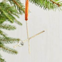 Letter X Bauble Monogram Holiday Ornament Initial Gold Metal Xmas Tree West Elm