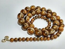Art Deco Bakelite Marbled Amber Graduated Bead 34 Necklace 149gr Tested Rare