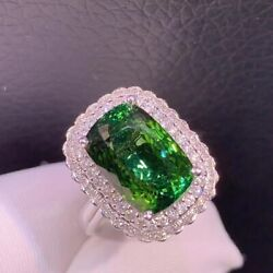 Top Quality Natural Green Tourmaline Ring Pendant Dual-use Jewelry