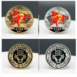 Sale Chinese Zodiac Year Of The Ox 2021 Gold And Silver Plated Commemorative Coins