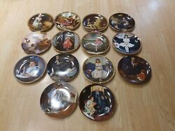 Knowles Norman Rockwell Plate Collection Huge Lot Of 14 Plates Total