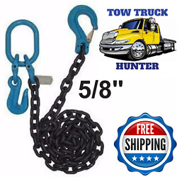 Grade 100 Chain With Slip Hook Cradle Grab And Oblong. Wrecker Rollback Rotator.