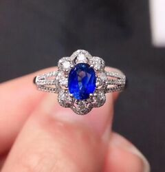 Unheated Natural Royal Blue Sapphire Ring, September Birthstone
