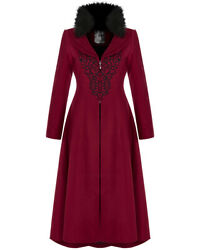 Punk Rave Women Long Gothic Winter Coat Red Black Embroidery Steampunk Victorian