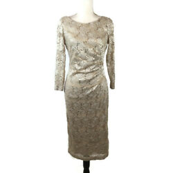 JH Evening Women Dress Size 10 Beige Sequins Lace Long Sleeve Midi Lined $35.00
