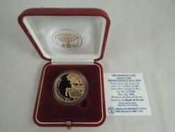 1989 Israel 41st Anniversary Promised Land Proof Coin 1/2 Oz Gold +box +coa