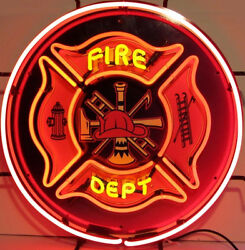 Fire Dept Neon Sign With Silkscreen Backing 5fired W/ Free Shipping
