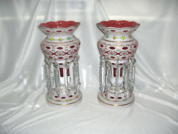2 Victorian Mantle Lustres Moser Bohemian Art Glass White Overlay Cranberry Nice