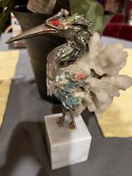 Vintage Sterling Silver .925 Crane Bird Statue With Stone And Marble Base