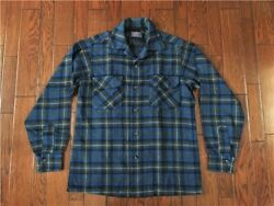 Pendleton Auth 1950's Vintage Cotton Ombre Check Shirt Blue S Used From Japan