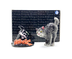 Fitz And Floyd Witch Hat And Cat Halloween Salt / Pepper 2006 668/121 Free Ship