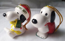 Vintage Rare Snoopy United Feature Syndicate Christmas Ornaments 2 Japan