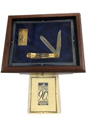 Schrade 90th Anniversary Genuine Stag Trapper Knife Usa And 24k Gold Ser435