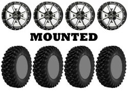 Kit 4 Superatv Xt Warrior Sticky Tires 32x10-14 On Frontline 556 Machined Can