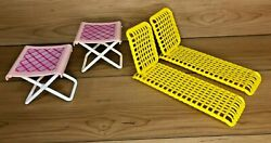 Vintage Barbie 2 Yellow Lawn Lounge Chair Outdoor Furniture And 2 Folding Chairs