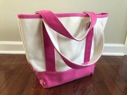 Pottery Barn Kids Canvas Beach Tote Pink Sturdy Design Water Repellant EUC $6.99