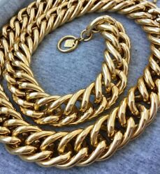Reserved Long Anne Klein Necklace Cuban Link Shiny Designer Couture Gold Tone