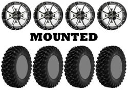 Kit 4 Superatv Xt Warrior Sticky Tires 34x10-14 On Frontline 556 Machined Can
