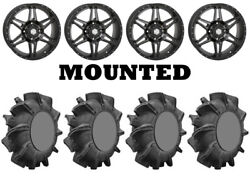Kit 4 Superatv Assassinator Tires 32x8-14 On Sti Hd7 Smoke Wheels Can