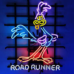 Road Runner Neon Signs Real Glass Beer Bar Pub Store Party Homeroom Decor 24x20
