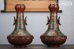 13.6china Antique Cloisonne Yipin Qinglian Pattern Vase A Pair