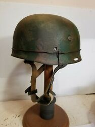 Wwii German M37 Paratrooper Helmet W/hand Aged Paint Work And Liner
