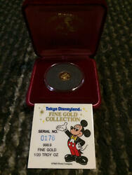 Tokyo Disneyland 24k Gold Coin Disney Mickey Mouse Rare 80s Free F/s From Japan