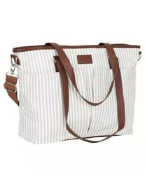 Hip Cub Diaper Bag Gray White Stripe With Changing Pad Very Stylish For Parents $14.99