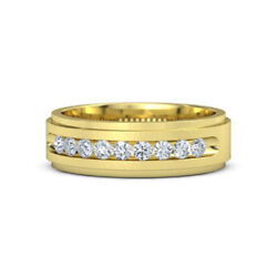 Excellent Cut 0.49 Ct Real Diamond Mens Bands 14k Yellow Gold Size 9 10 11 12