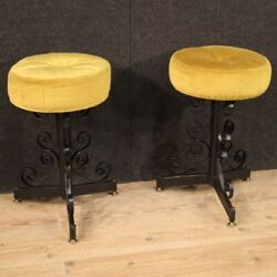 Pair Of Stools Furniture Chairs In Iron Velvet Seats Modern Design Vintage