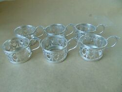 Pretty Set Of 6 Antique Sterling Silver Coffee Can / Cup Holders 1920