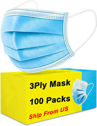 100 Pcs Blue Face Mask Mouth And Nose Protecting Families Easy Safe With Filter